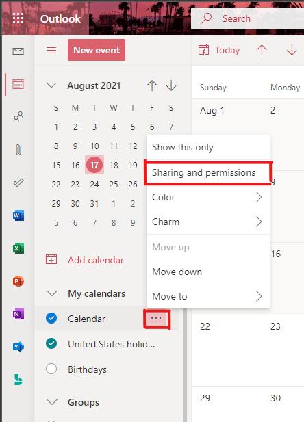 permissions for calendar